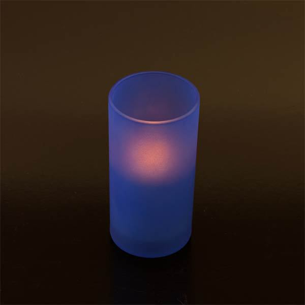 Blue Frosted Glass & Battery operated candle SC2202